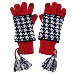 C.C Touch Screen Houndtooth Double Layer Glove